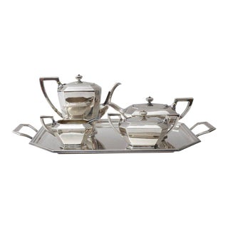 Black Star & Frost Art Deco Sterling Silver Coffee Tea Service - Set of 5 For Sale