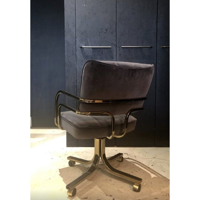1980s Set of Six Vintage Brass Office or Dining Chairs on Casters For Sale - Image 5 of 6