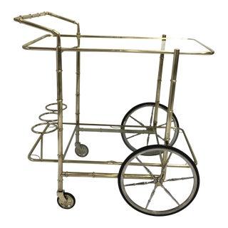 Faux Bamboo Brass Bar Cart For Sale