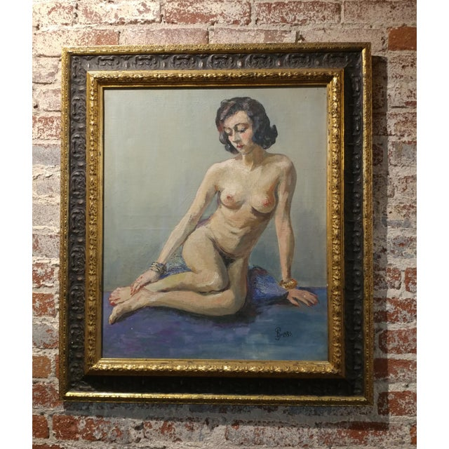 """Ismael De La Serna - Mujer Desnuda - 1939 Mid Century Oil Painting frame size 29 x 34"""" paper size 21 x 26"""" Oil Painting on..."""