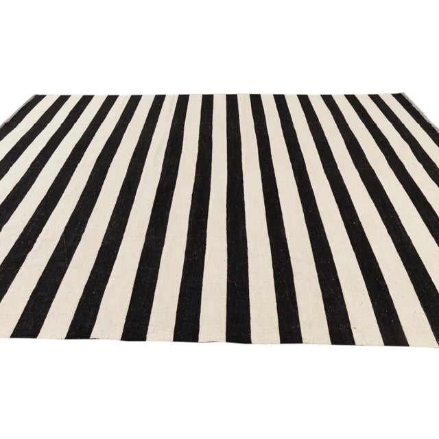 Textile Contemporary Black and White Striped Kilim Flat-Weave Wool Rug For Sale - Image 7 of 11
