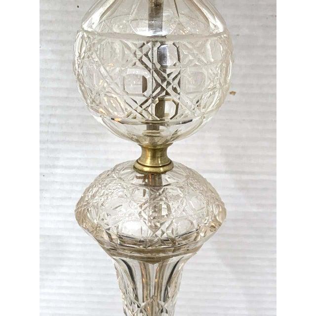 Austrian Art Deco Crystal & Bronze Boudoir Lamp, With Sphinx Feet For Sale - Image 4 of 10
