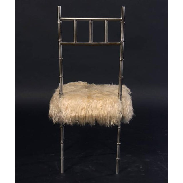 Nickel over Iron Bamboo Chairs with Goat Fur Seats - A Pair - Image 4 of 6