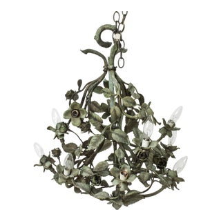 Hollywood Regency Foliate Chandelier in Patinated Bronze For Sale