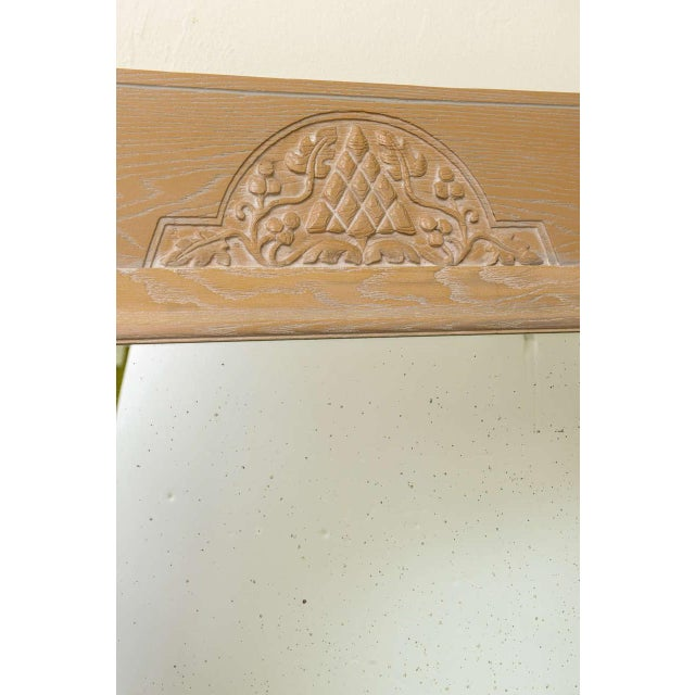 1940s Jamestown Lounge Co. - 1940s Carved Cerused Oak Mirror For Sale - Image 5 of 5