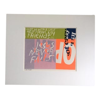 "1960's Pop Art Sister Corita Print, ""Jesus Never Fails"""