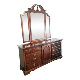 Cherry Wood Dresser & Mirror Set For Sale