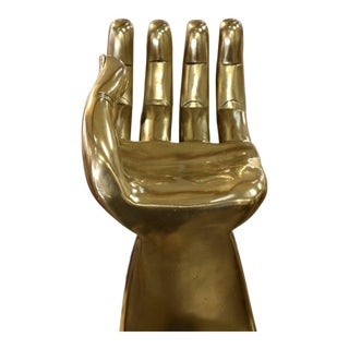 Brass Clad Pedro Friedeberg Hand Chair Sculpture For Sale