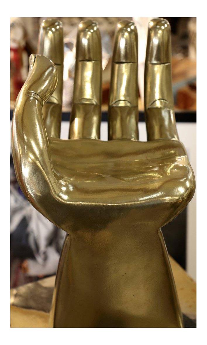 Brass Clad Wood Sculpture Of Pedro Friedeberg Hand Chair