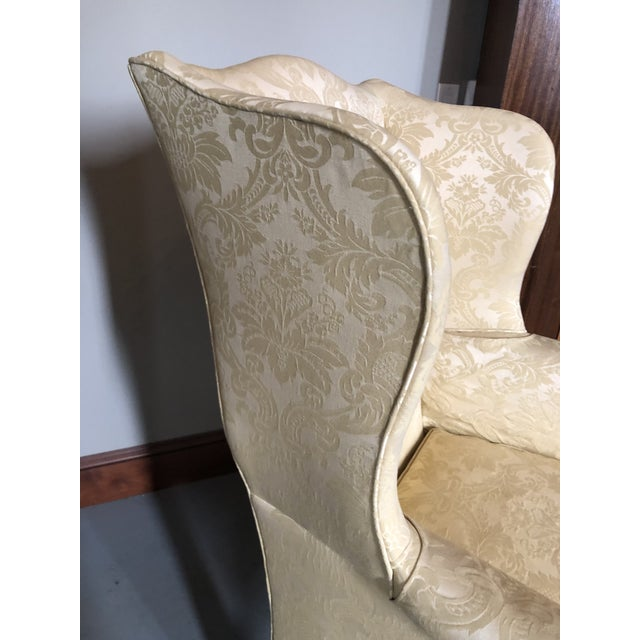 Wood American Federal Style Yellow Jacquard Wingback Chair With Down Cushion For Sale - Image 7 of 13