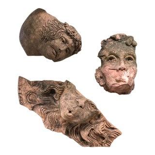 1930s Antique Art Nouveau Neo Classic Architectural Faces Pottery Fragments- Set of 3 For Sale