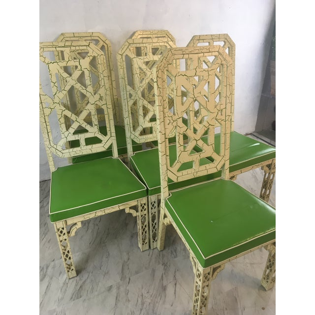 Palm Beach Style Chinoiserie Dining Chairs, Set of Six For Sale - Image 9 of 12