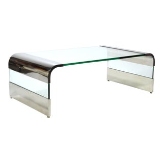 Leon Rosen Chrome and Glass Waterfall Coffee Table by Pace For Sale