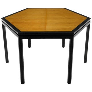Rare Edward Wormley Hexagonal Mahogany and Tawi Dining Table For Sale