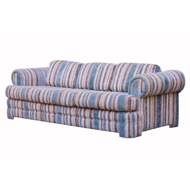 Mid-Century Boho Chic Striped Sofa | Chairish