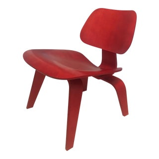 Eames Red Lounge Lcw Chair Herman Miller Mid Century Modern For Sale