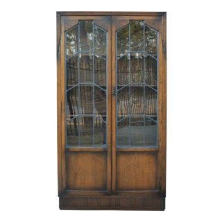 Antique English Oak Art Deco Bookcase Display Cabinet 1930s For Sale
