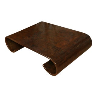 Faux Tortoise Karl Springer Style Coffee Table For Sale