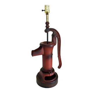 Vintage Ranch Craft Original Red Water Pump Lamp For Sale