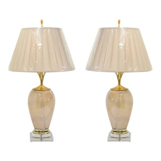Sophisticated Pair of Custom-Made Murano Lamps with Silk Box Pleat Shades For Sale