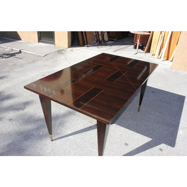 1940s 1940s Art Deco Exotic Macassar Ebony Writing Desk / Dining Table For Sale - Image 5 of 13