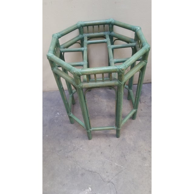 Asian 1950s Vintage Pastel Green Tinted Bamboo Side Table For Sale - Image 3 of 4