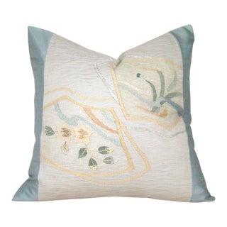 Botanical Fans Japanese Silk Obi Pillow Cover For Sale