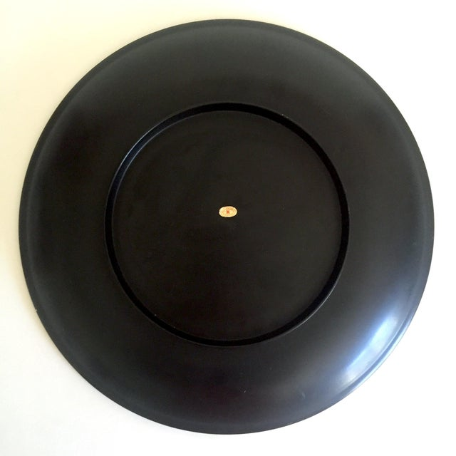 Vintage Mid Century Japan Hand Painted Flower Branch Blossoms Large Round Lacquer Tray Platter For Sale - Image 11 of 13