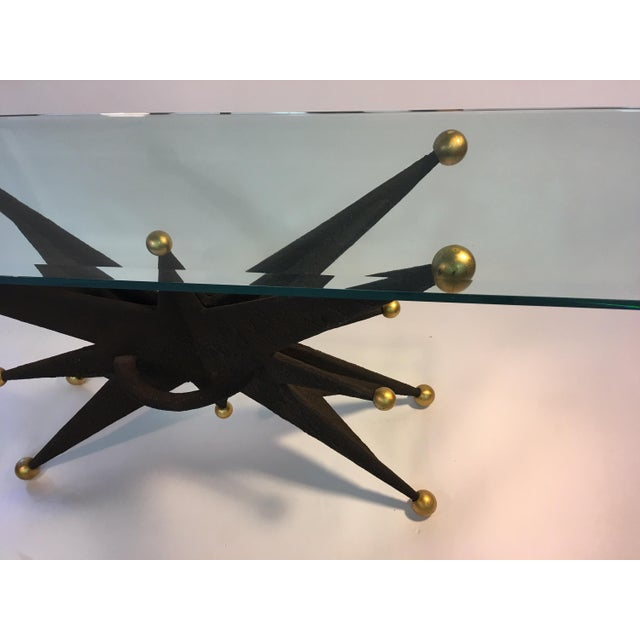 Gold SPECTACULAR ITALIAN BRUTALIST STARBURST AND GOLD BALL RESIN CONSOLE TABLE For Sale - Image 8 of 10