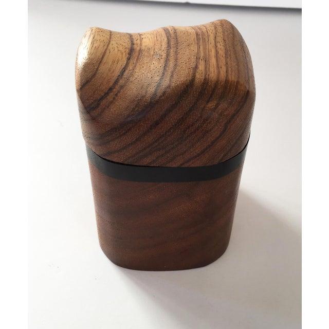 Artisan Walnut Ebony and Zebra Wooden Covered Box - Image 7 of 8
