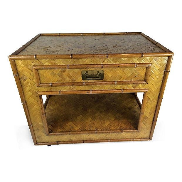 buy online f9513 21f47 Bamboo & Woven Raffia Side Table
