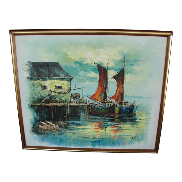 Vintage Mid Century Modern Harbor Oil Painting For Sale