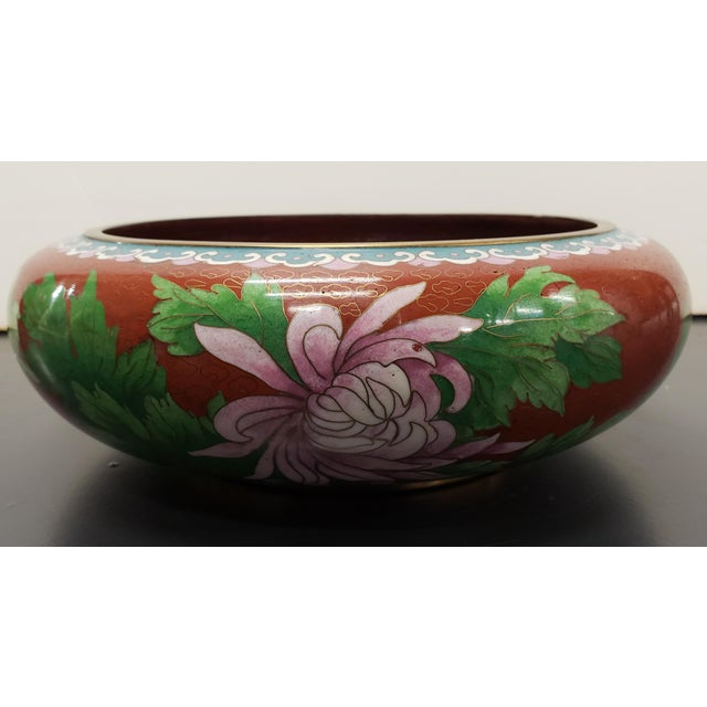 Metal Circa 1970 Chinese Cloisonne and Brass Floral/Butterfly Motifs Brush Washer Bowl For Sale - Image 7 of 9