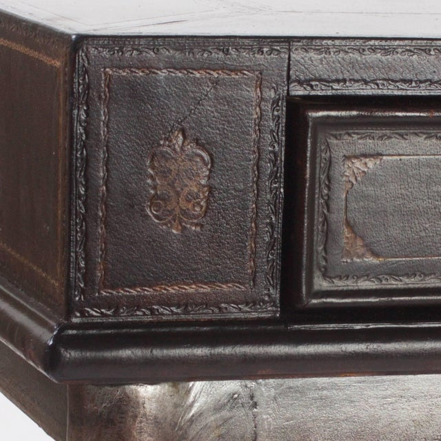 Leather Handsome Neoclassical Style Desk or Writing Table For Sale - Image 7 of 10