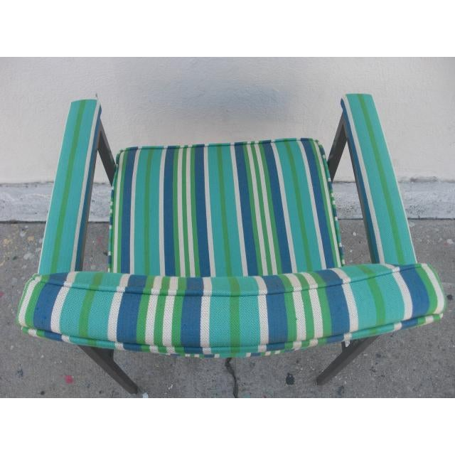 Mid-Century Modern Reupholstered Striped Steelcase Armchair For Sale In Los Angeles - Image 6 of 9