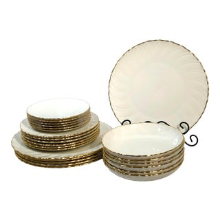 "Lenox China Dish Set ""Laurent"" Wavy Gold Rim Plates, Salad, Bread, Bowl Service for 6 Dinnerware - 24 Pieces For Sale"