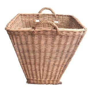 Vintage French Wicker Grape Harvest Gathering Basket For Sale