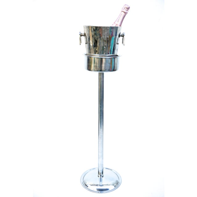 Art Deco Silver Geometric Champagne Chiller & Stand - Image 2 of 10