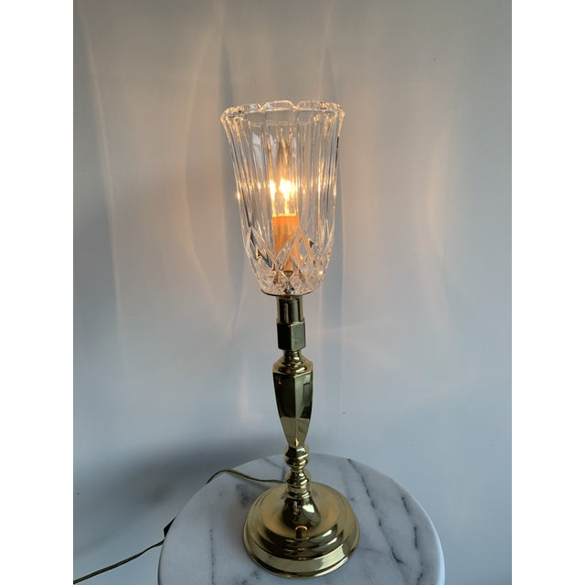 Vintage Mid 20th Century Brass Plated Metal Candlestick and Cut Crystal Glass Table Lamp For Sale - Image 4 of 8