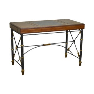 Maitland Smith Iron X Base Regency Style Leather Top Game Table