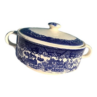 1930s Vintage Blue Willow Large Tureen For Sale