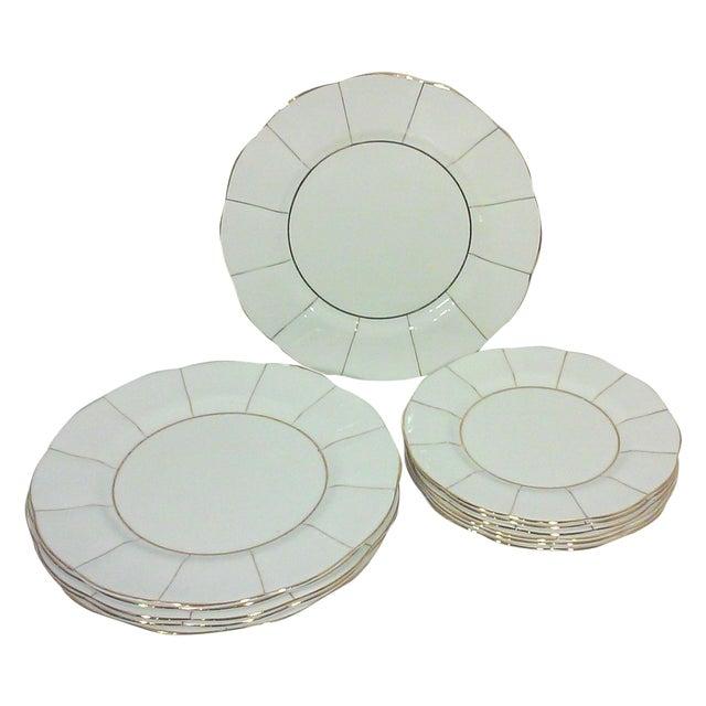 White English Bone China Lotus Plates - Set of 12 - Image 1 of 6
