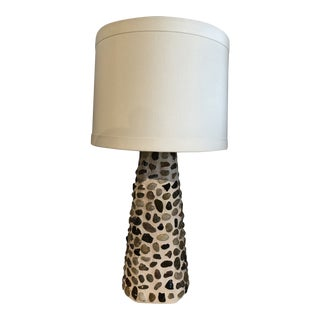 Modern Day Arts & Crafts River Stone Table Lamp For Sale