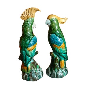 Mintons Majolica Parrot/Cockatoo Figurines - a Pair For Sale
