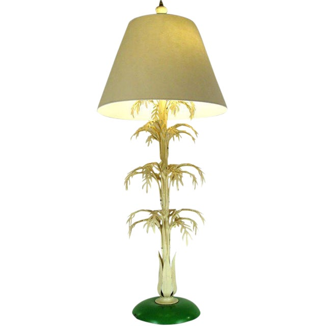 Mid-Century Palm Leaf Table Lamp For Sale