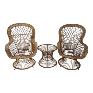 Mid Century Wicker Chairs and Side Table- 3 Pieces For Sale
