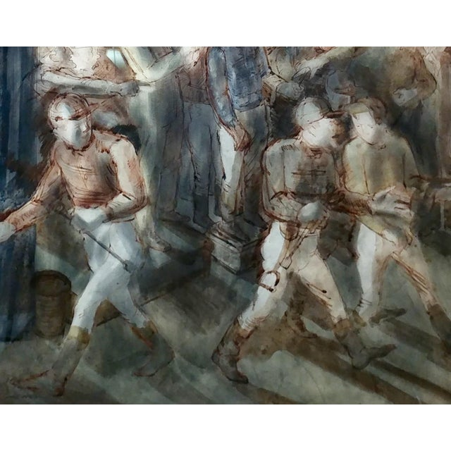 Impressionism Carl Hugo Beetz- Jockeys - MIX Media Painting- C1939 For Sale - Image 3 of 9