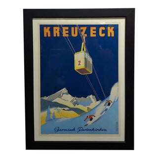 Kreuzeck Original 1935 German Ski Travel Poster Garmisch Plakat For Sale