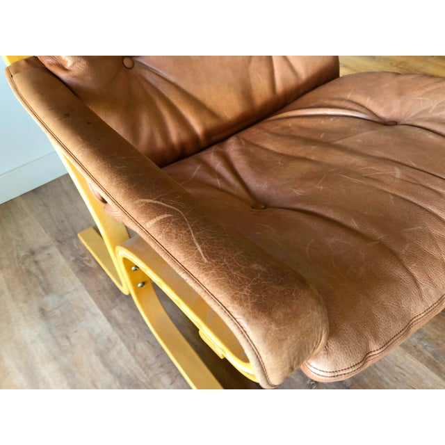 Ingmar Relling for Westnofa Mid-Century Modern Leather Siesta Chair With Ottoman For Sale - Image 11 of 13
