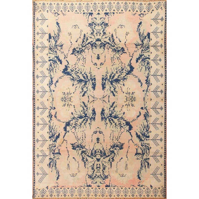 Early 20th Century Antique Hand Knotted Pink and Blue Agrarian Rug 4′ × 6′8″ For Sale